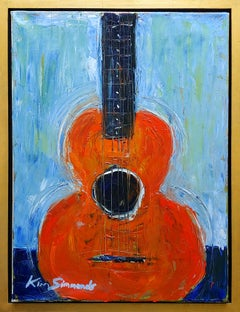 """Guitar in Orange""  acrylic on canvas"