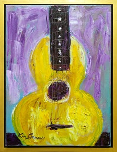 """""""Guitar in Yellow"""" acrylic on canvas by Rock and Blues legend KS of Savoy Brown"""