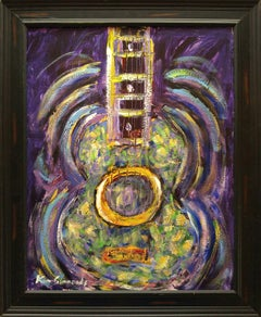 Space Guitar in violet and green, 33x27 framed, acrylic on canvas