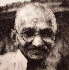 Mohandas Gandhi[Black&White, Steel on canvas, Stereoscopic, Portrait, New media]