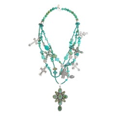 Kim Yubeta Turquoise and Sterling Cross Necklace