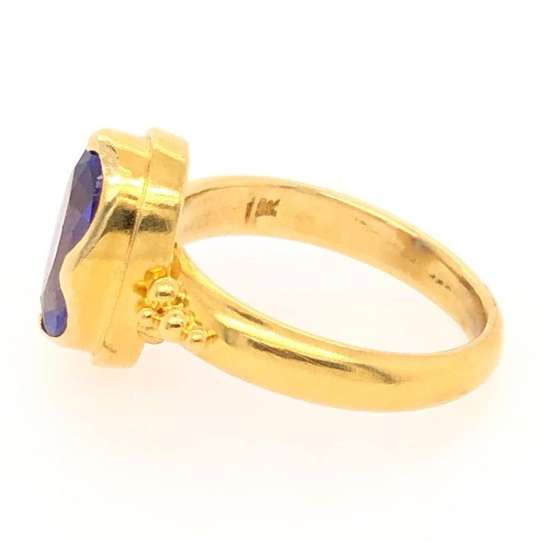 Modern Kimarie Yellow Gold Tanzanite Ring For Sale