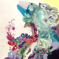 California Artist, Mixed Media, Abstract, colorful, Dimensional, Square