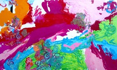 Liquid Landscape, Mixed Media, Abstract, colorful, Dimensional, Pink, Flow