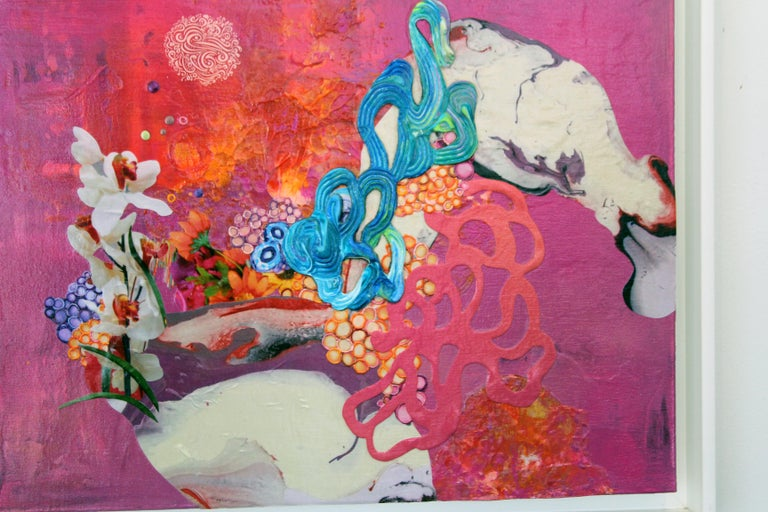 Kimber Berry, Thank You for the Magic Carpet Ride, Acrylic and Mixed Media on Canvas, 48x48.  This is a layered, textured, dimensional contemporary painting.  It is pink, purple and blue with a splash of white.  A combination of acrylic paint,