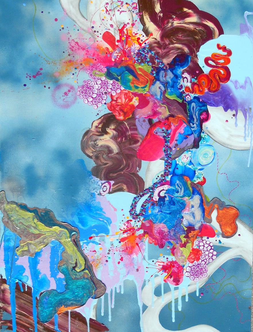 We Didn't Think They Would Steal The Gods, Mixed Media, Abstract, colorful, Blue