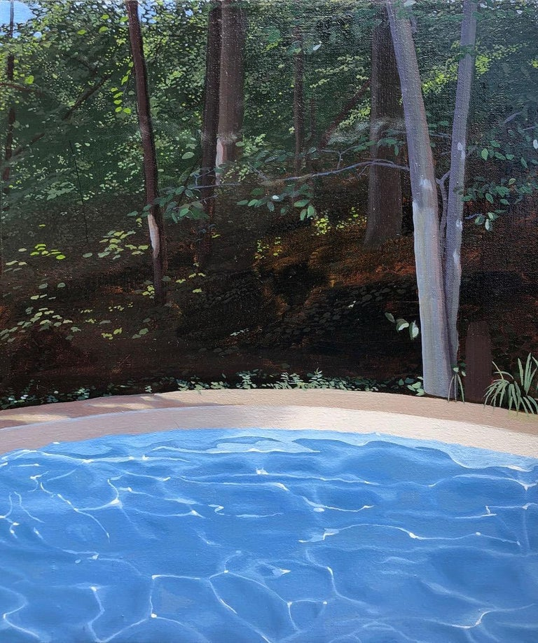 """Kimberly MacNeille Landscape Painting - """"Pool and Forest""""  Small landscape with blue swimming pool in bottom half"""
