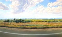 """""""Route 90 East"""" Very large landscape, yellow/green field as seen from moving car"""