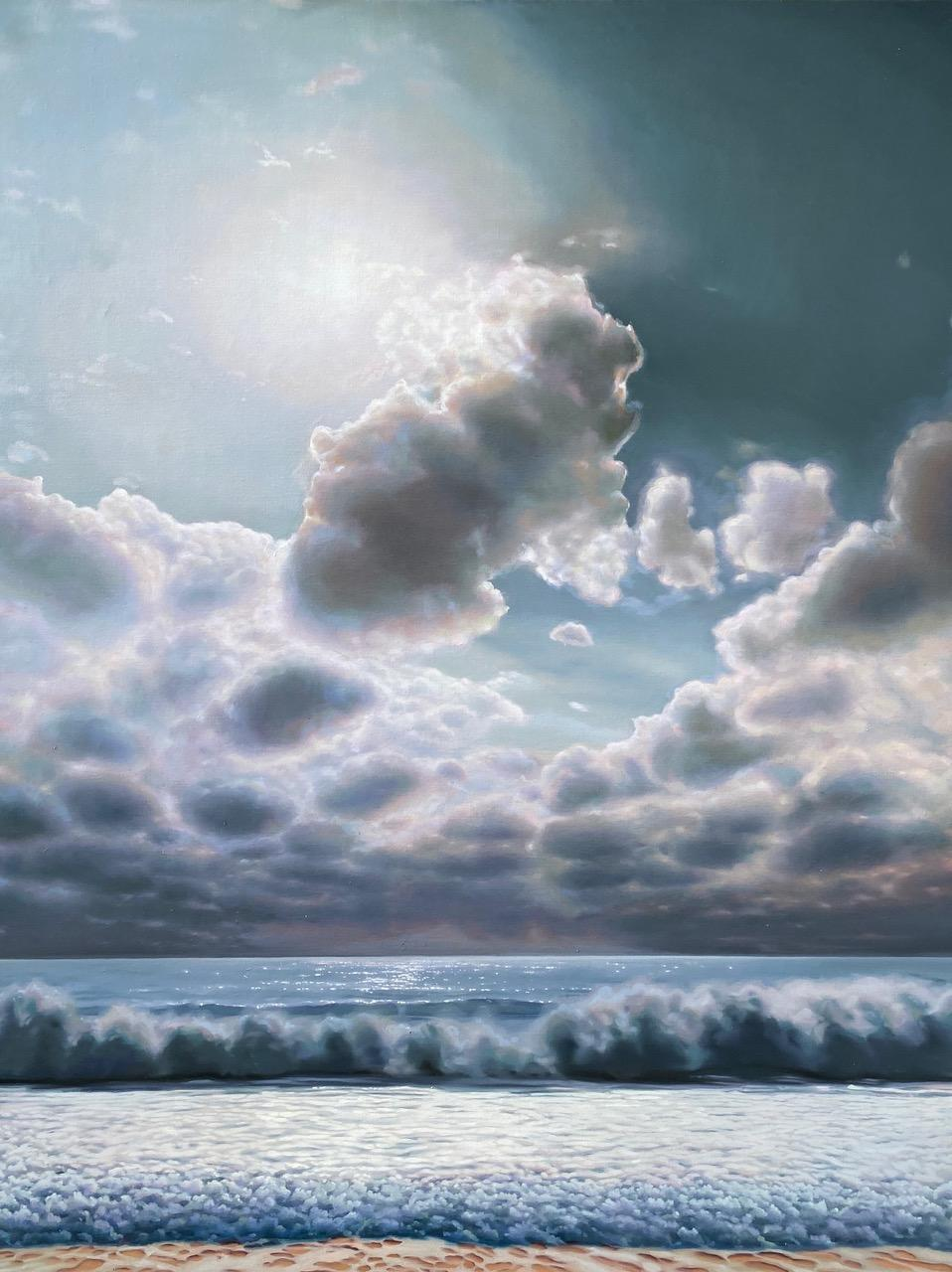 """""""Sea and Sky""""   Large landscape/seascape with brilliant light, sun behind clouds"""