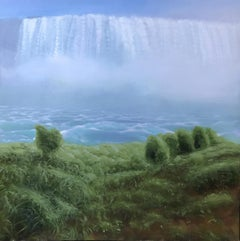 """Waterfall with Spray and Shrubs"" Small Landscape with Waterfall, Sky, Greenery"