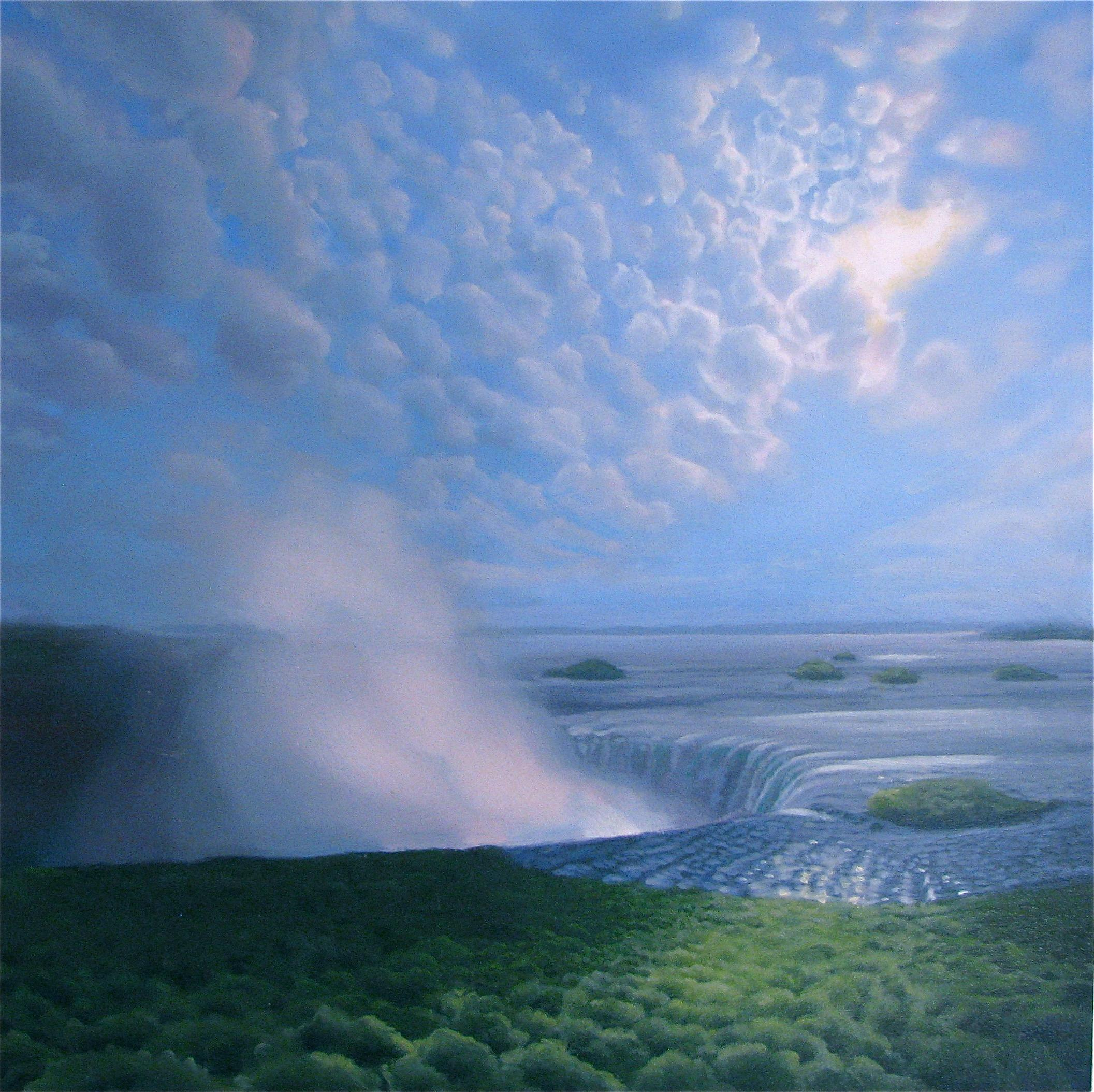 """""""Waterfall, Spray, Clouds""""  Small Landscape/Waterscape Sky with Sun"""