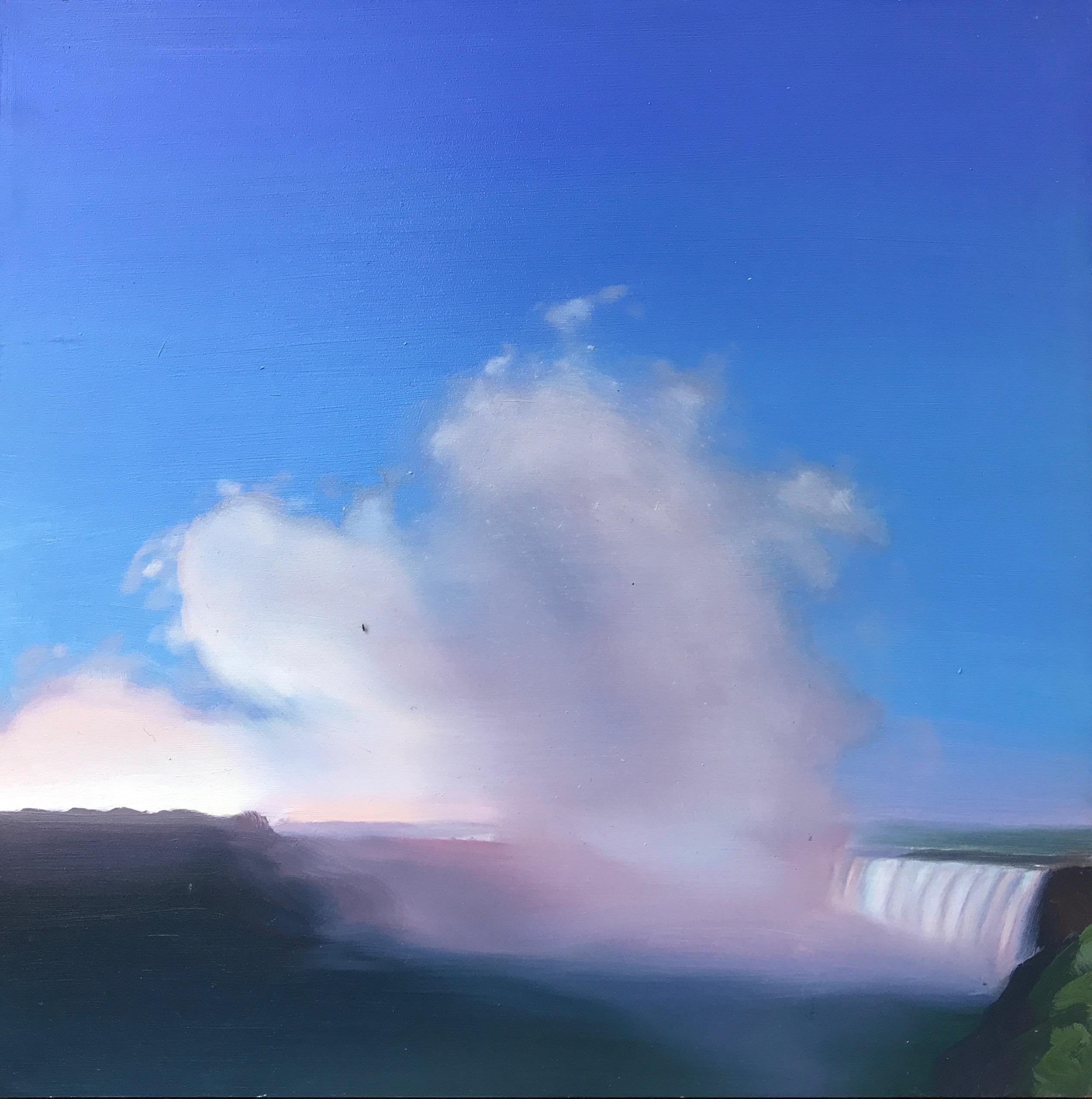 """""""Waterfall and Spray #1""""   Small Landscape/Waterscape Dusk Clouds Sky Blue Pink"""