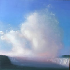 """Waterfall and Spray #2""  Small landscape/waterscape dusk clouds sky blue pink"