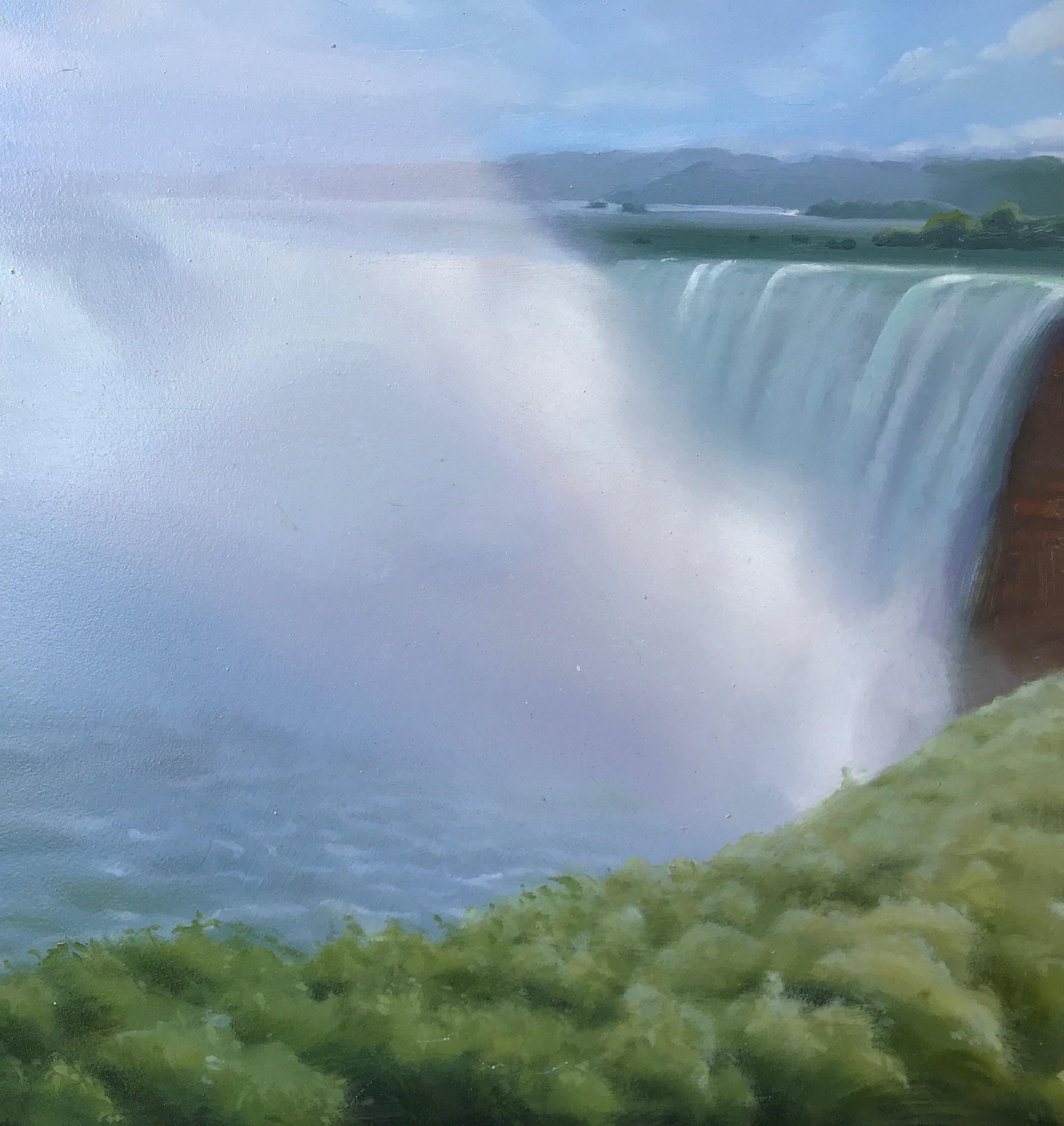 """""""Waterfall and Spray #4""""  Small landscape/waterscape with shrubs, sky, clouds"""