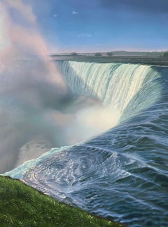 """""""Waterfall from Above""""  Large landscape/waterscape of Niagara with greenery"""