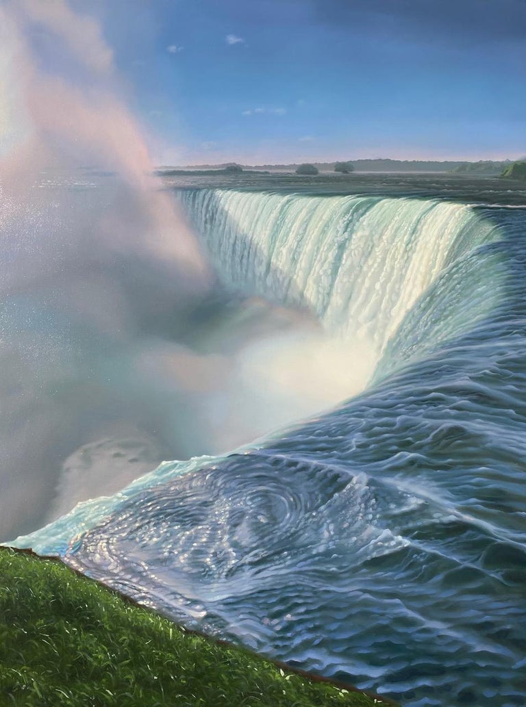 """Kimberly MacNeille Landscape Painting - """"Waterfall from Above""""  Large landscape/waterscape of Niagara with greenery"""