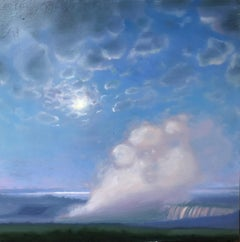 """Waterfall, Spray, Clouds""  Small landscape/waterscape dusk clouds sky blue pink"