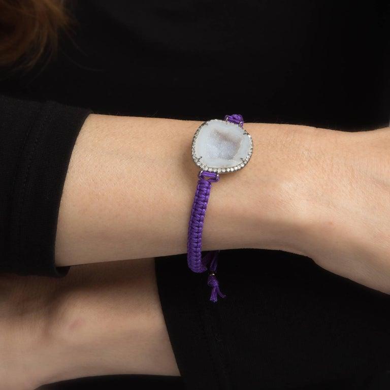 Round Cut Kimberly McDonald Geode Diamond Bracelet Purple Macrame 18 Karat Gold For Sale