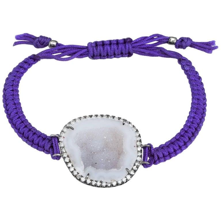 Kimberly McDonald Geode Diamond Bracelet Purple Macrame 18 Karat Gold For Sale