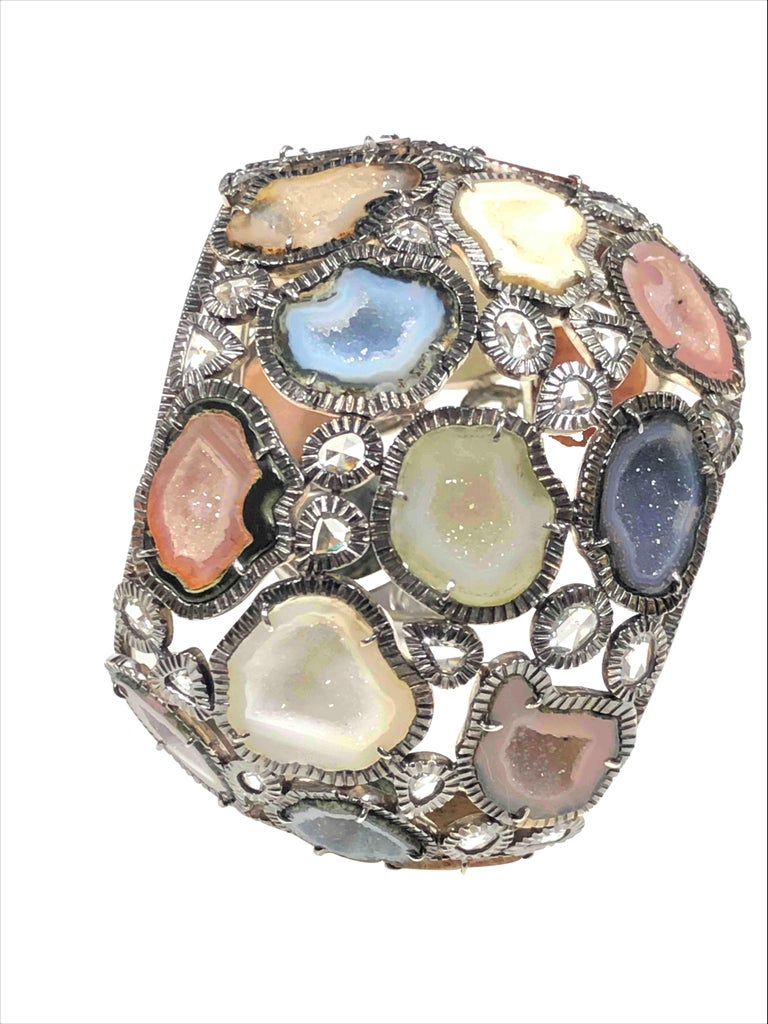 Women's Kimberly McDonald Large Impressive Gold Diamond and Geode Cuff Bracelet For Sale
