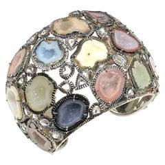 Kimberly McDonald Large Impressive Gold Diamond and Geode Cuff Bracelet