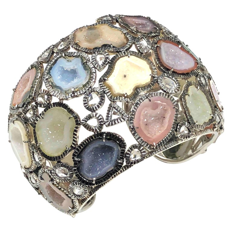 Kimberly McDonald Large Impressive Gold Diamond and Geode Cuff Bracelet For Sale