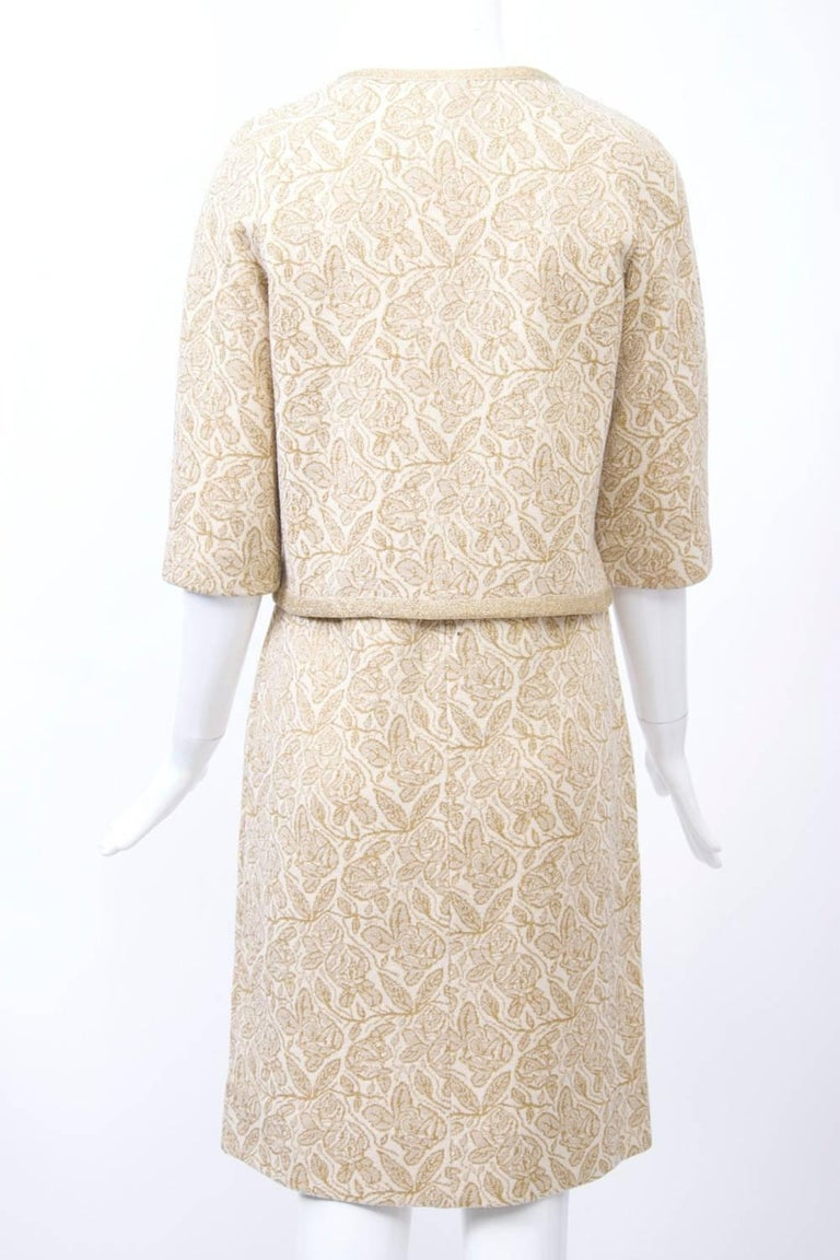 Beige Kimberly Metallic Knit Dress and Jacket For Sale