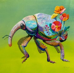 """""""remember the spring"""", Figurative, Animal, Floral, Nature, Bright Colors, Sequin"""