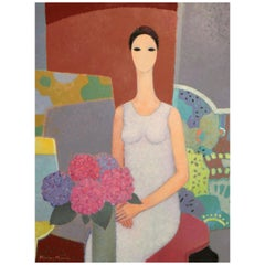 Kimiyo Masuda, Painting Young Women with Bouquet of Flowers, 1988