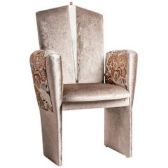 """Kimono"" Contemporary Chair, Velvet, Kimono Silk Sleeves, Silvered Glass, Brass"