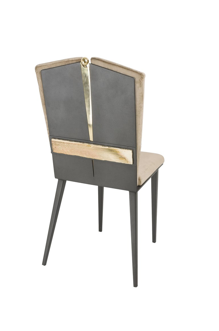 Modern Kimono Dining Chair Velvet Cushions, Silvered Glass, Made of Iron and Brass For Sale