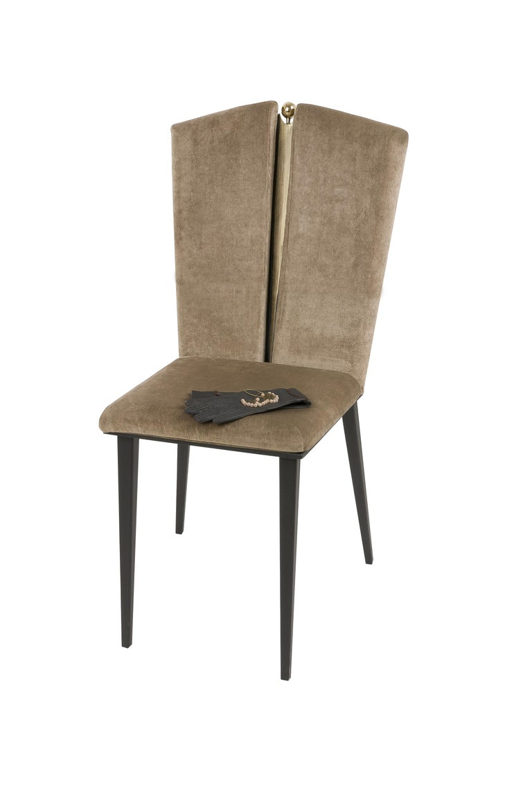 Kimono Dining Chair Velvet Cushions, Silvered Glass, Made of Iron and Brass In New Condition For Sale In Pietrasanta, IT