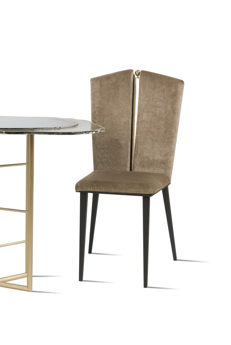 Art Glass Kimono Dining Chair Velvet Cushions, Silvered Glass, Made of Iron and Brass For Sale