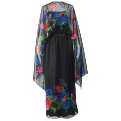 Kimono Sleeve 1970s Vintage Maxi Dress