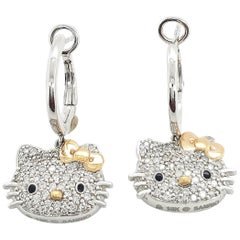 Kimora Lee Simmons for Sanrio Hello Kitty Gold and Diamond Earrings