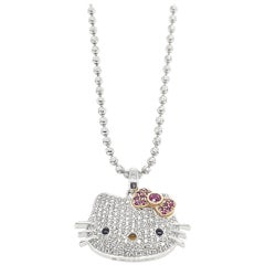Kimora Lee Simmons for Sanrio Hello Kitty Gold Diamond Gemstone Pendant Necklace