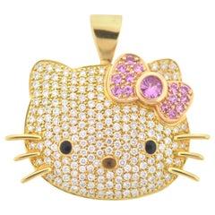 Kimora Lee Simmons Sanrio Hello Kitty 18 Karat Yellow Gold Diamond Pendant
