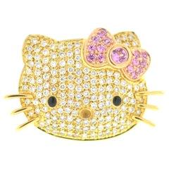 Kimora Lee Simmons Sanrio Hello Kitty 18 Karat Yellow Gold Diamond Ring