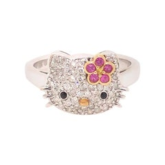 Kimora Lee Simmons Sanrio Hello Kitty 18k White Gold, Diamond & Sapphire Ring