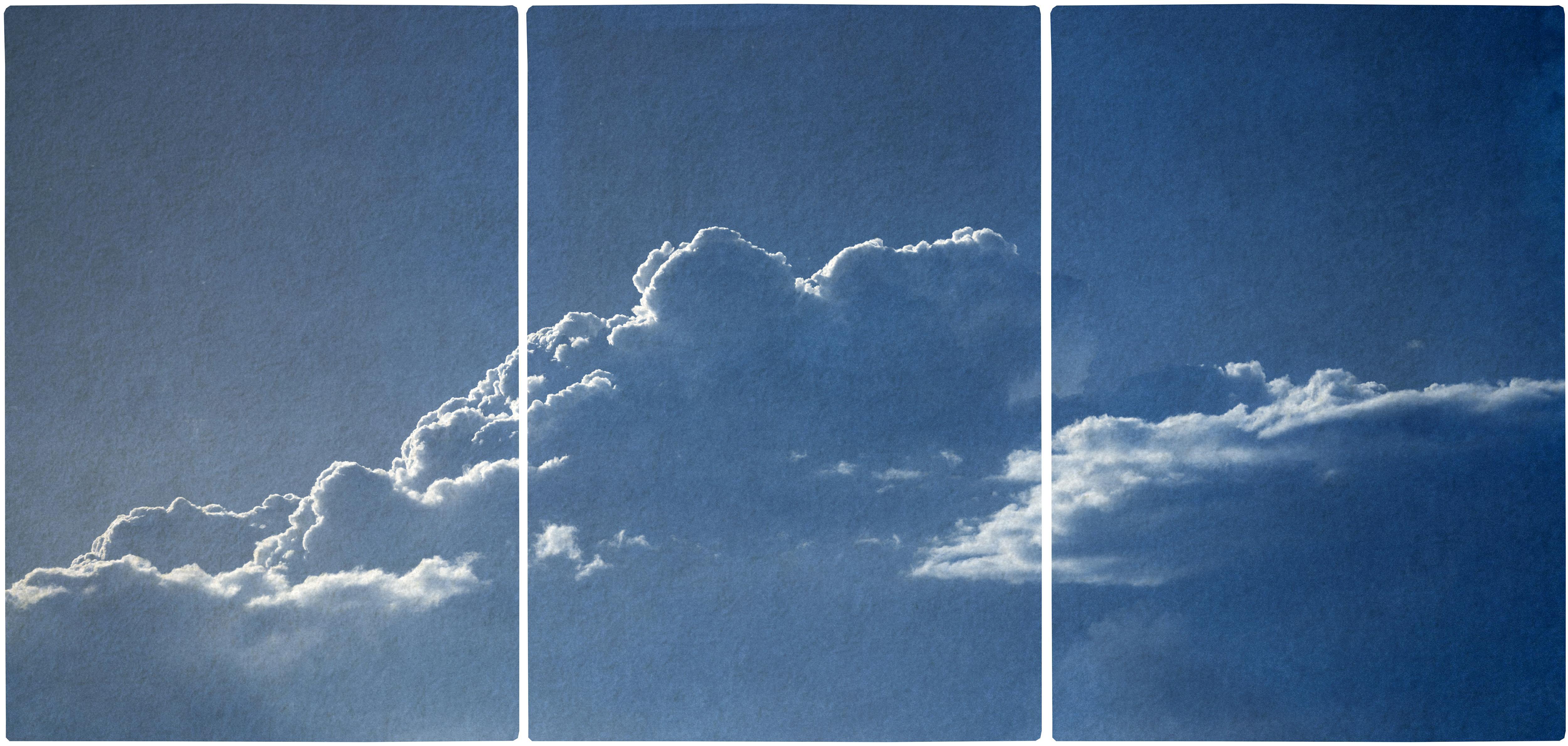 Blue Tones Triptych of Serene Cloudy Sky, Handmade Cyanotype Print on Paper 2021