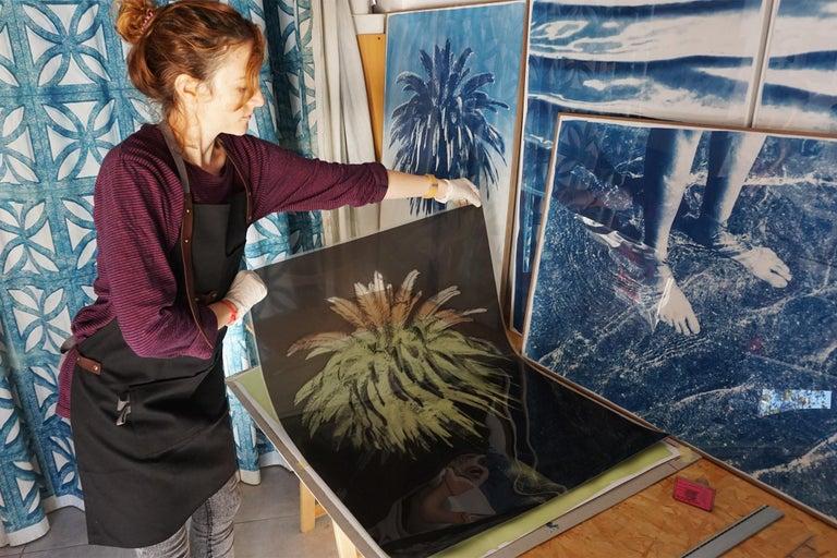 Botanical Triptych of Shady Majesty Palm Leaves Garden, Blue Tones Cyanotype  For Sale 6
