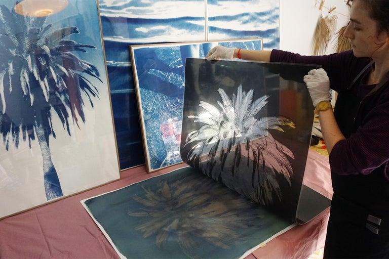 Botanical Triptych of Shady Majesty Palm Leaves Garden, Blue Tones Cyanotype  For Sale 8
