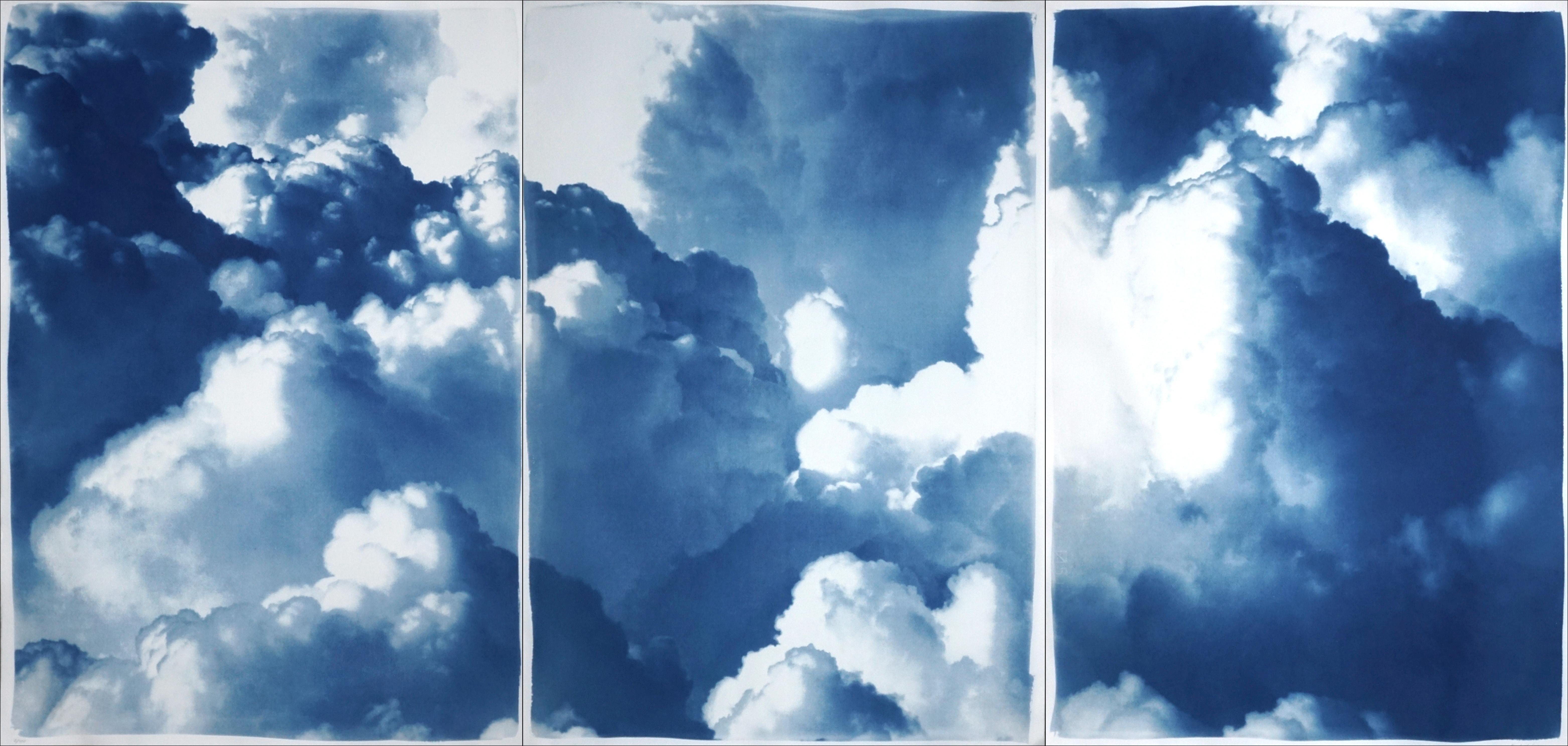 Dense Rolling Clouds, Blue Sky Landscape Triptych, Handmade Cyanotype on Paper