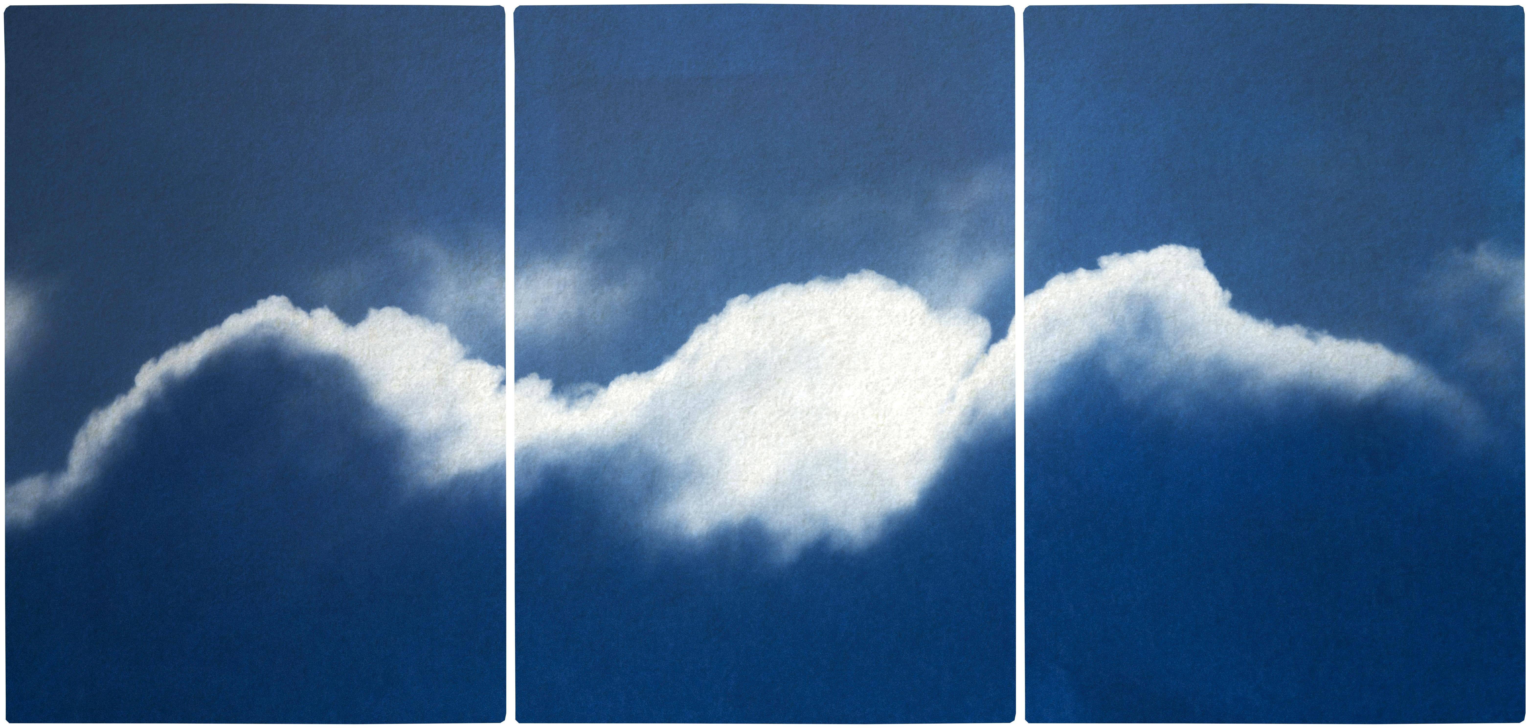 Extra Large Triptych of Waves of Clouds, Blue Tones Cyanotype Print, Cloudy Sky