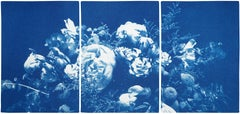 Floral Triptych of Large Floral Bouquet, Botanical Cyanotype in Classic Blue