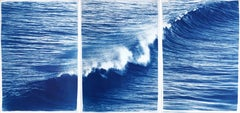 Nautical Seascape Triptych of Crashing Wave in Los Angeles, Exclusive Cyanotype