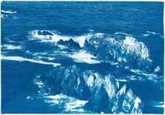 Oregon Coast Seascape, Handmade Cyanotype of Rocky Oregon Landscape, Blue, Paper