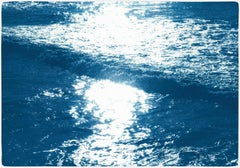 Pacific Sunset Waves, Contemporary Cyanotype on Paper, Navy Blue, Beach House
