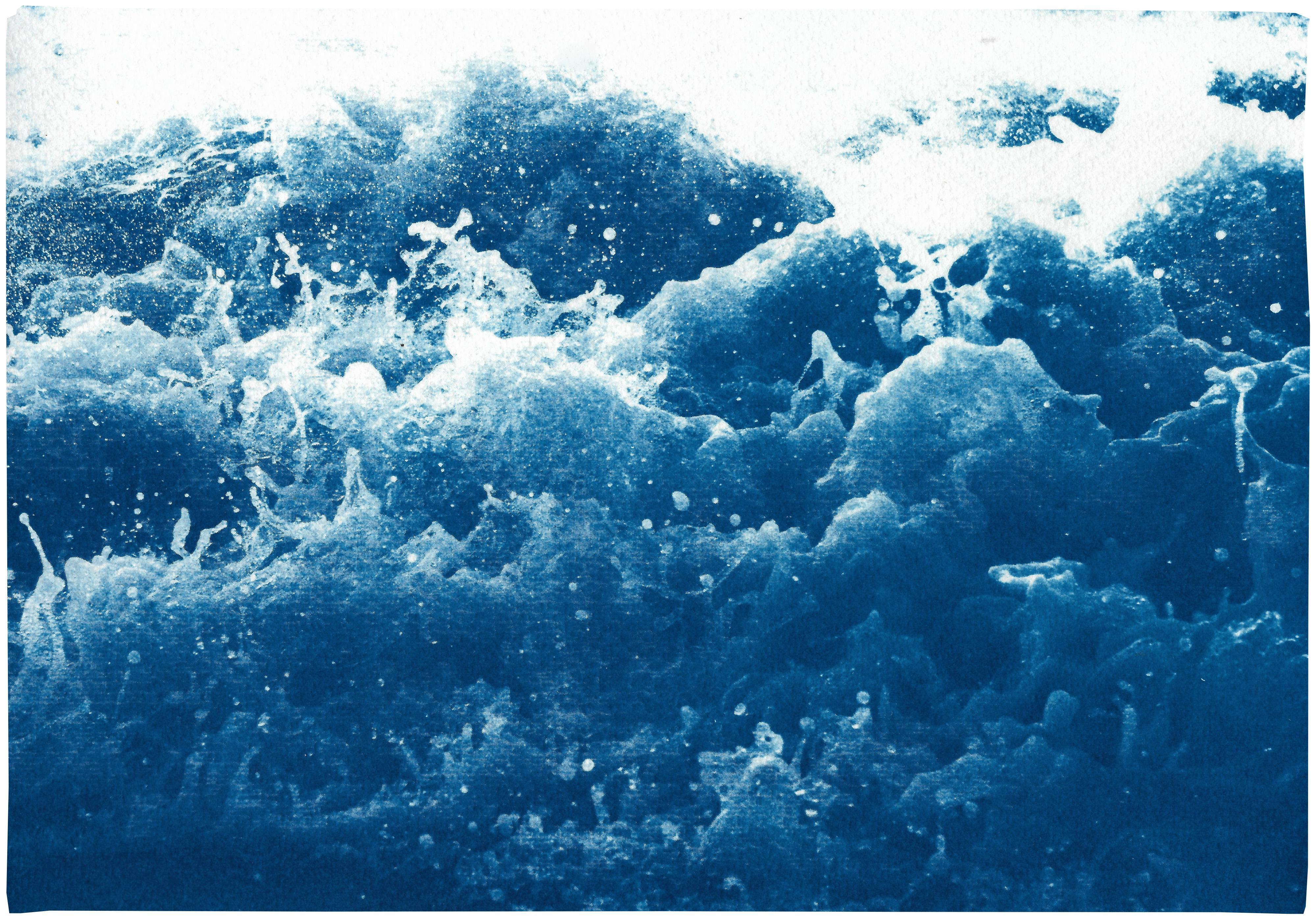 White and Blue Abstract Nautical Cyanotype of Crashing Waters, Coastal Lifestyle