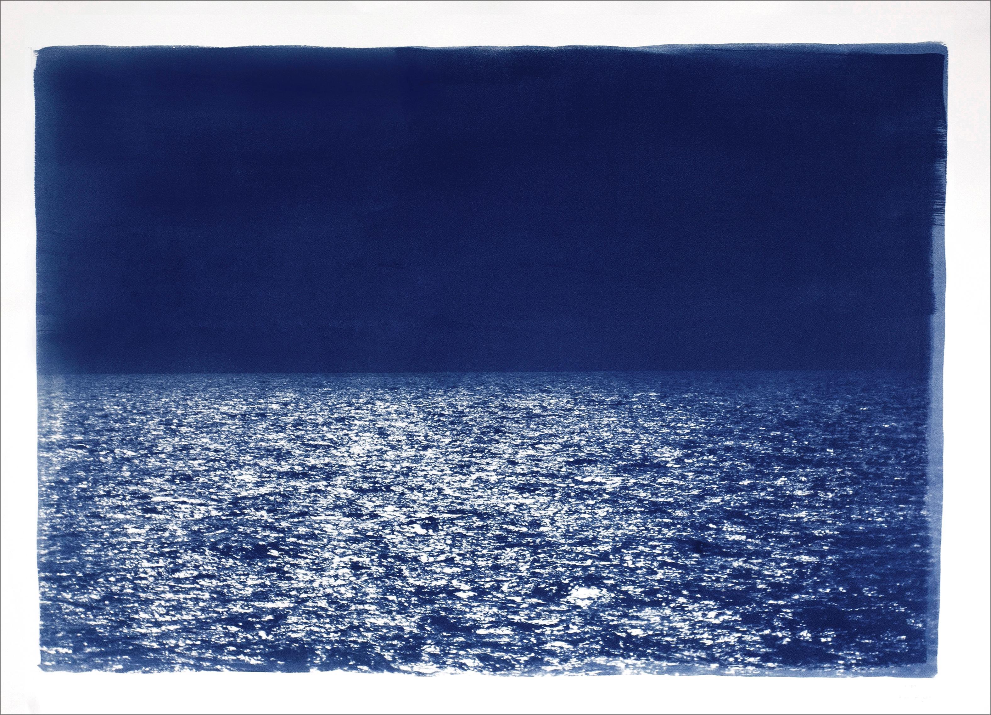 Barcelona Beach Night Horizon, Nocturnal Seascape Cyanotype on Watercolor Paper
